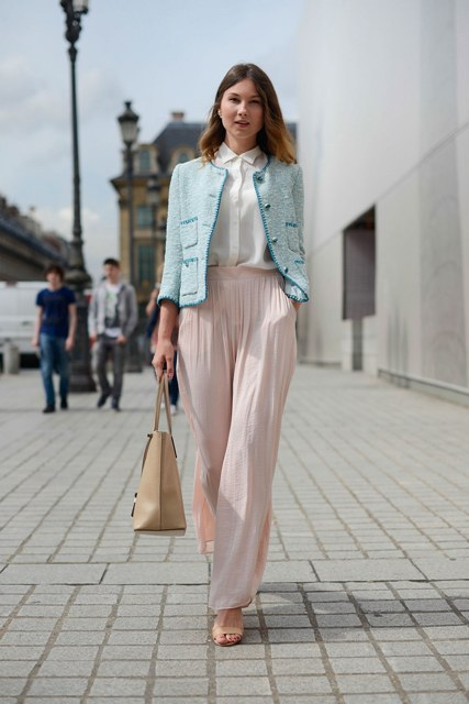 With white shirt, light blue blazer, brown tote and high heels
