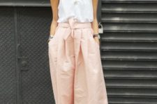 With white top and gray suede cutout shoes