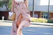 With white top, straw bag and platform sandals