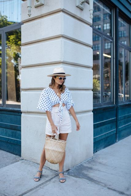 With wide brim hat, high waisted shorts, tote and striped shoes