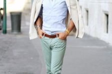 a blue button down, mint grene pants, brown shoes and a belt plus a creamy blazer on top