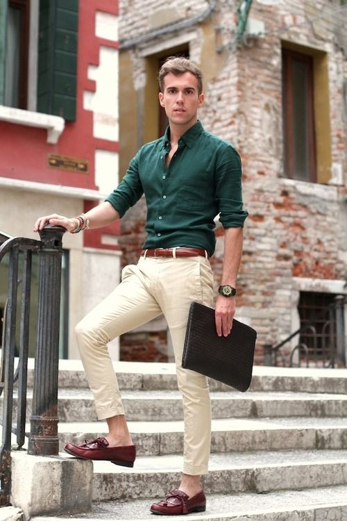 a forest green button down, neutral pants, brown loafers and a matching belt will keep you cool on a hot day