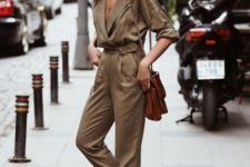 an elegant camel boiler suit, a brown bag and animal print slipons for a comfy look