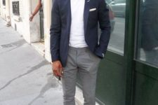 02 a casual summer work look with a white tee, a navy blazer, grey pants, brown loafers is comfy and chic