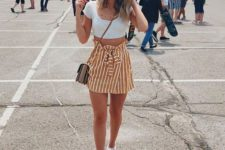a sexy summer look with a stripped skirt