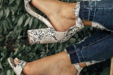 02 sexy snake print block heels are totally on top – this is a hot design and a hot print in one