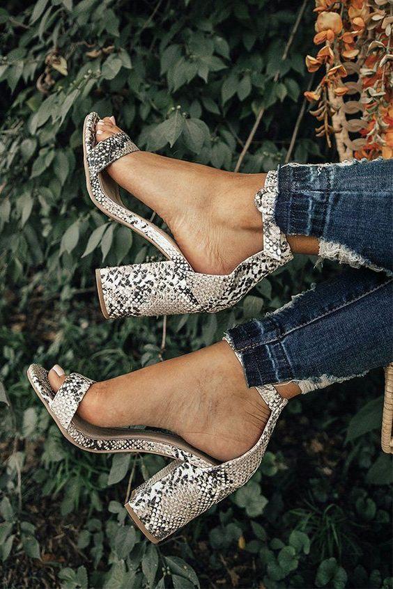 sexy snake print block heels are totally on top - this is a hot design and a hot print in one