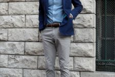 03 a casual work outfit with a blue shirt, a navy blazer, grey pants, brown loafers and a matching belt