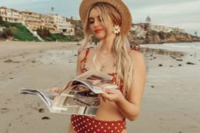 04 a classic red and white polka dot bikini with a top on ties and a straw hat is a timeless holiday idea