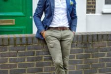 04 a super bold look with a white button up, grey pants, a navy blazer and red loafers plus glasses