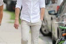 all-white men summer outfit
