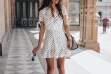 04 a white polka dot short sleeve dress, white canvas sneakers and a grey bag for a girlish look