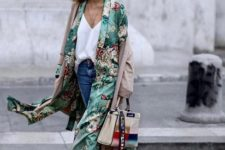 04 blue jeans, a white top, a grene floral kimono, red loafers and a bold accent bag