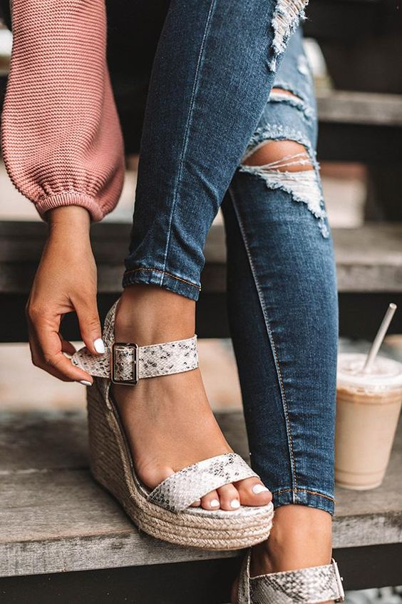 snake print wedges are a comfortable option you may try for summer