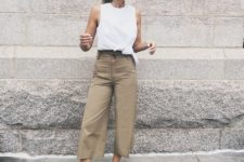 05 a white sleeveless top, camel wideleg pants, nude flats for a casual work summer outfit