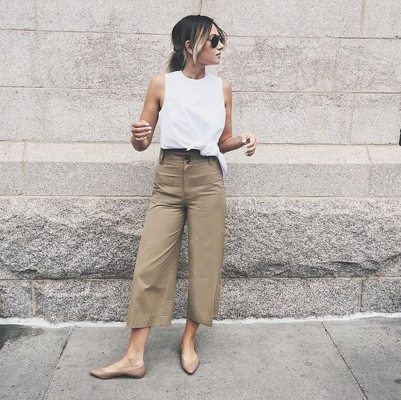 a white sleeveless top, camel wideleg pants, nude flats for a casual work summer outfit
