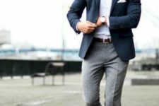 05 an elegant look with a white button up, a navy blazer, grey pants and brown shoes with no socks