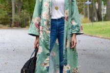 05 blue jeans, a white top, a green silk kimono, red heels and a black straw bag