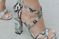 05 snake print strappy block heel shoes are amazing for all kinds of summer parties