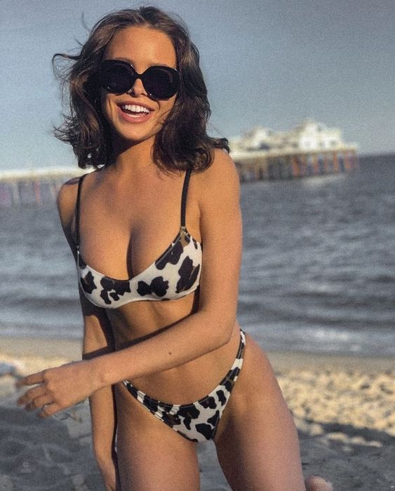 a black and white animal print bikini with a high cut bottom feels 90s like and very trendy
