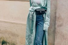 06 a gorgeous look with blue jeans, a white tee, an aqua-colored embellished wrap dress, embellished shoes