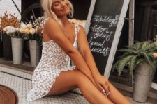 06 a white lace mini dress with ruffled straps, white espadrilles for a girlish outfit this summer