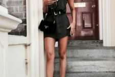 07 a black silk mini dress on spaghetti straps, a black bag and white chunky sneakers for a contrast