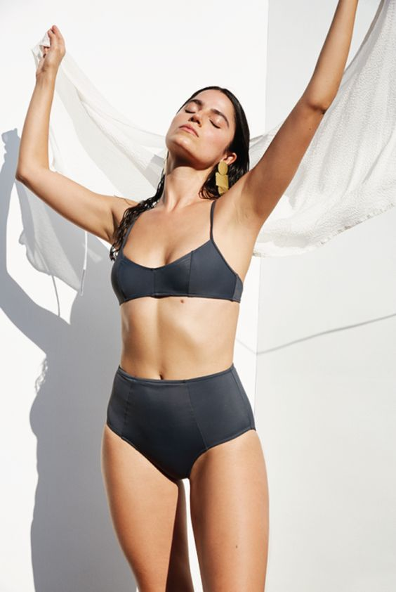 a graphite grey bikini with a high waisted bottom and a comfy triangle top on spaghetti straps