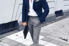 07 an elegant summer work look with a white shirt, a navy blazer, grey pants, brown shoes and sunglasses