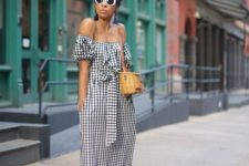 07 an off the shoulder gingham midi dress with a sash, a wicker bag and black espadrilles