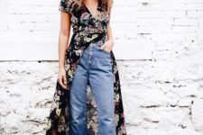 07 blue cropped jeans, a moody black floral wrap dress, printed shoes for a boho outfit
