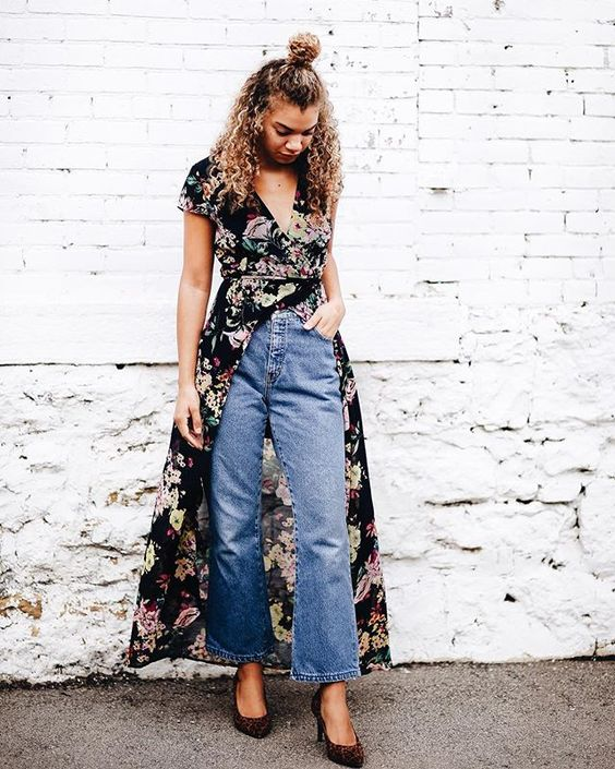 blue cropped jeans, a moody black floral wrap dress, printed shoes for a boho outfit