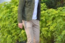 08 Ryan Reynolds rocking tan chinos, a white tee, a green jacket, white sneakers for a cool summer day