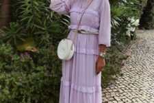 08 a lavender prairie midi dress, a white round bag and spiked sandals for a trendy feel