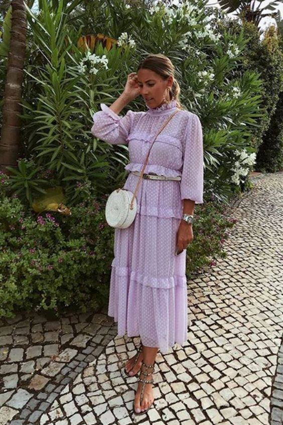 a lavender prairie midi dress, a white round bag and spiked sandals for a trendy feel