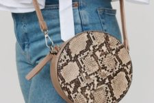 08 a round snake print bag will add a bold and whimsy touch to your everyday outfit