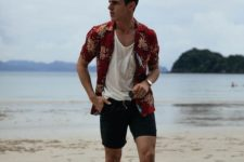 09 a white top, a bright red printed shirt and black shorts will provide comfort and you'll look good