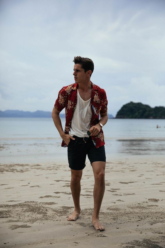 a white top, a bright red printed shirt and black shorts will provide comfort and you'll look good