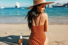 11 a red polka dot one piece swimsuit on spaghetti straps is a gorgeously chic and sexy retro piece