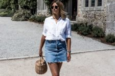 11 a white linen shirt, a blue denim skirt with a stepped hem, black shoes and a wicker bucket bag