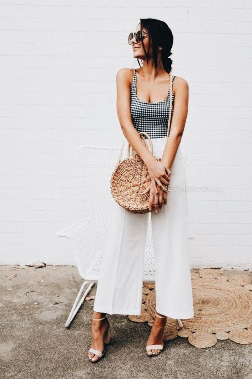 a gingham top, white wideleg pants, white heels and a round straw bag plus sunglasses