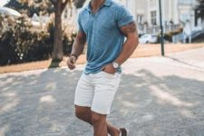 13 a summer look with a blue polo shrt, white shorts and burgundy sneakers for every day