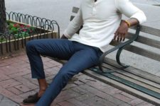 14 a creamy long sleeve tee, navy chinos and brown loafers for a cooler summer day