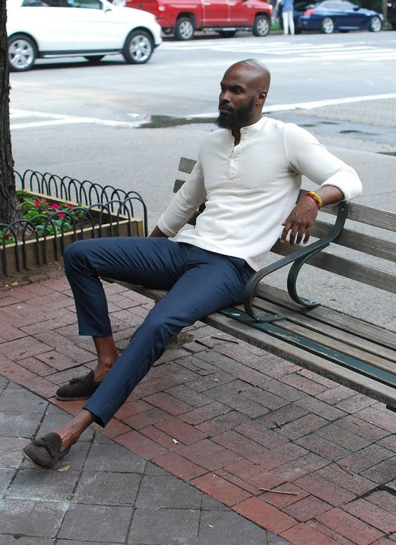 a creamy long sleeve tee, navy chinos and brown loafers for a cooler summer day
