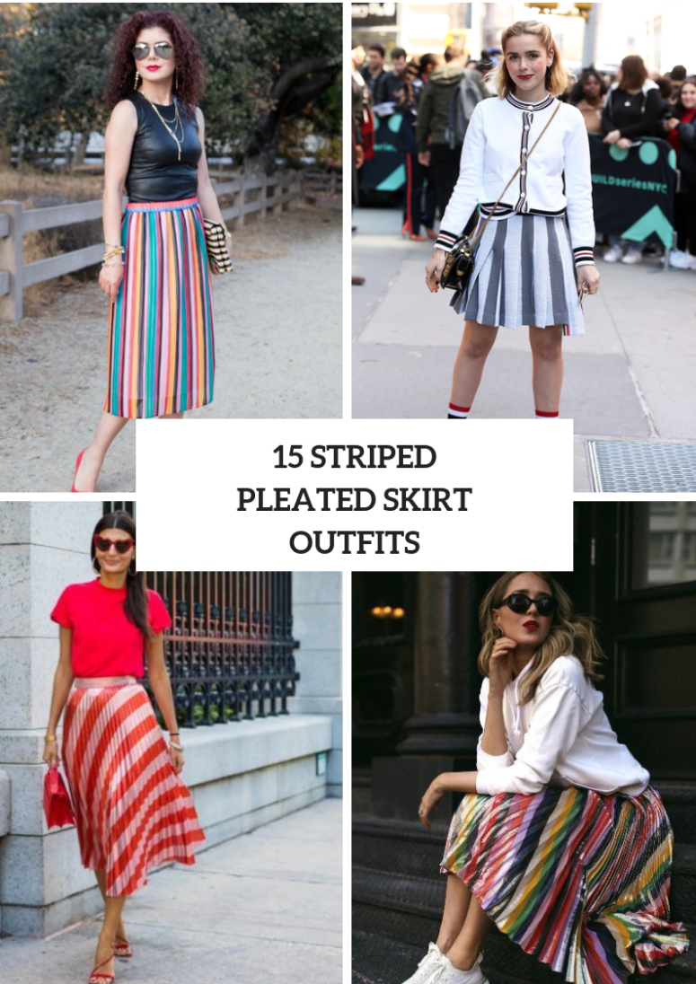 15 Looks With Striped Pleated Skirts To Repeat