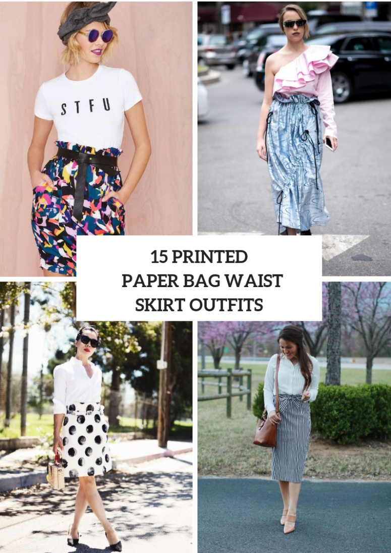 Outfits With Printed Paper Bag Waist Skirts