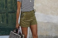 15 a striped tee, olive green shorts, embellished slippers, a printed bag and a straw hat for a sexy holiday look