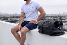 15 a timeless look with a white polo shirt, navy shorts and white sneakers is gorgeous