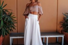 15 white high waisted culottes, a blush off the shoulder top with spaghetti straps, blush ankle strap shoes