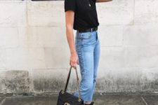 16 bleached jeans, a black tee, black espadrilles, a black bag for a casual summer look